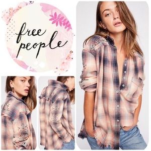 Free People Take On Me Studded Button-Up Shirt